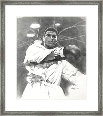 Framed Print featuring the drawing Young Cassius Clay by Noe Peralez