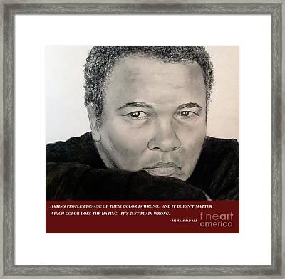 Muhammad Ali On Hating  Framed Print