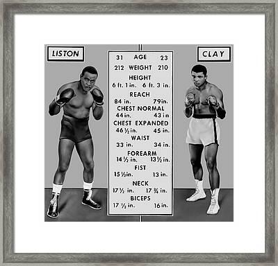 Muhammad Ali Vs Sonny Liston - Tale Of The Tape 1964 Framed Print by Daniel Hagerman
