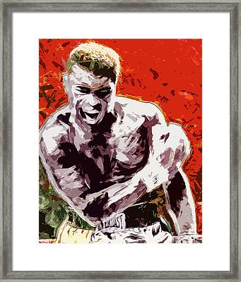 Muhammed Ali Boxing Champ Digital Paintng Framed Print by David Haskett