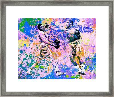 Muhammed Ali Vs Joe Frazier Sport Pop Art Pur 1 Framed Print by Felix Von Altersheim
