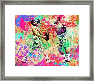 Muhammed Ali Vs Joe Frazier Sport Pop Art Pur Framed Print by Felix Von Altersheim