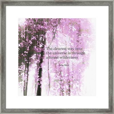 Muir Quote On Pink  Framed Print by Ann Powell