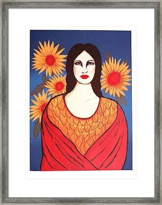 Mujer Con Flores Framed Print by Laura Lopez Cano