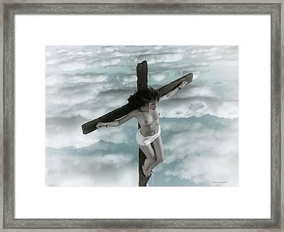Mujer Crucificada En Tonos Descoloridos Framed Print
