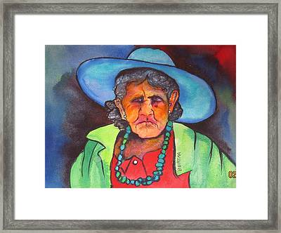 Framed Print featuring the painting Mujer De Jocotepic  by Karen bertha Calderon