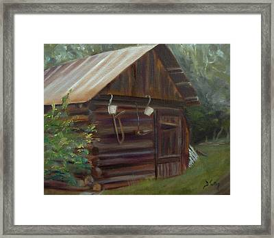 Framed Print featuring the painting Mulberry Farms Grainery by Donna Tuten