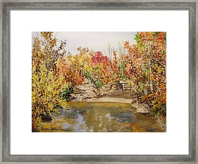 Mulberry River In Fall Framed Print by Sharon  De Vore