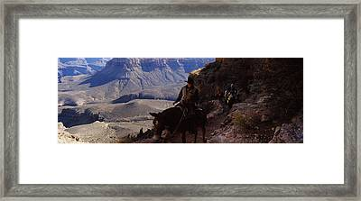 Mule Riders And Hikers On The Trail Framed Print by Panoramic Images