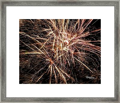 Framed Print featuring the photograph Multi Blast Fireworks #0721 by Barbara Tristan