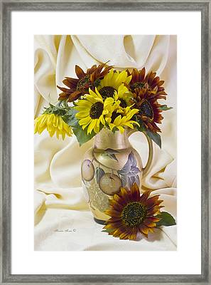 Multi Color Sunflowers Framed Print by Sandra Foster