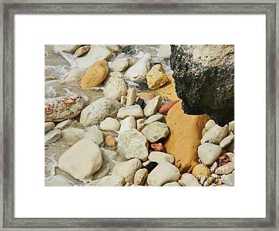 multi colored Beach rocks Framed Print