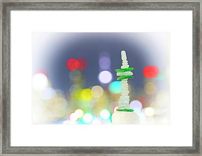 City Lights And Tower Framed Print