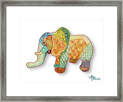 Multicolor Elephant Framed Print by Angeles M Pomata