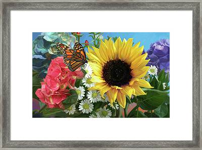 Multicolor With Monarch Framed Print