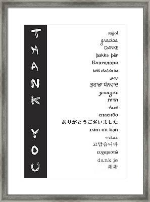 Multilingual Thank You Framed Print by Liesl Marelli