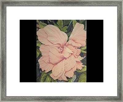 Framed Print featuring the painting Multipetaled Pink Hibiscus by Hilda and Jose Garrancho