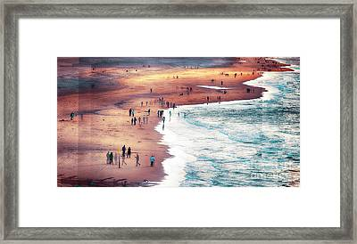 Framed Print featuring the photograph multiple exposure of people on North sea beach  by Ariadna De Raadt