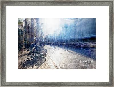 Framed Print featuring the photograph Multiple Exposure Of Shopping Street by Ariadna De Raadt