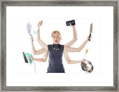 Multitasking Housewife Framed Print