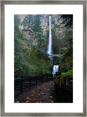 Multnomah Falls - Fall Begins Framed Print