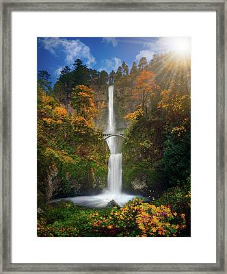 Multnomah Falls In Autumn Colors -panorama Framed Print