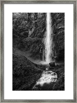 Multnomah Falls In Black And White Framed Print