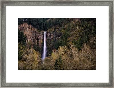 Multnomah Falls In Spring Framed Print by Brian Bonham