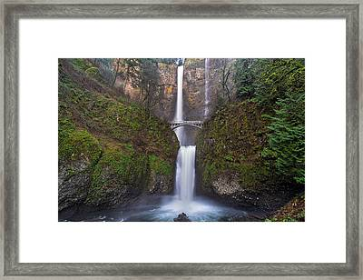 Multnomah Falls In Spring Framed Print by David Gn