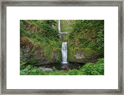 Framed Print featuring the photograph Multnomah Falls In Spring by Greg Nyquist