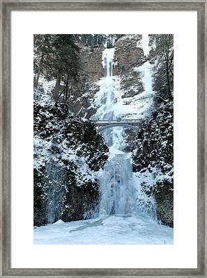 Multnomah In Ice Framed Print by Jeff Swan