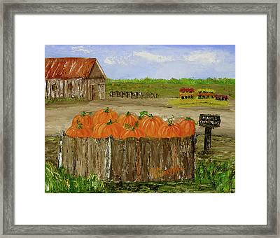 Mum And Pumpkin Harvest Framed Print