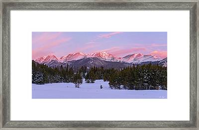 Framed Print featuring the pyrography Mummy Range Winter Sunrise by Aaron Spong