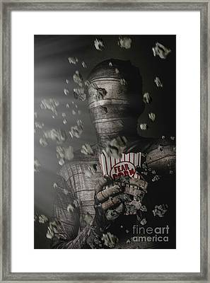 Mummy Wrapped Up In Fear Porn News Framed Print
