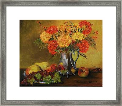 Mums And Fruit Framed Print by Aurelia Nieves-Callwood