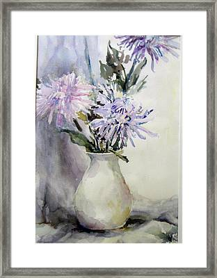Mums In White Pitcher Framed Print by Dorothy Herron