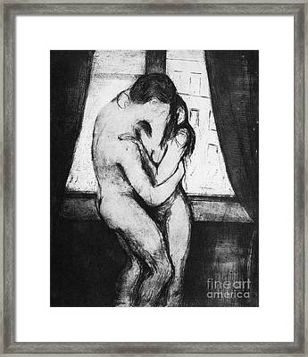 Munch The Kiss, 1895 - To License For Professional Use Visit Granger.com Framed Print