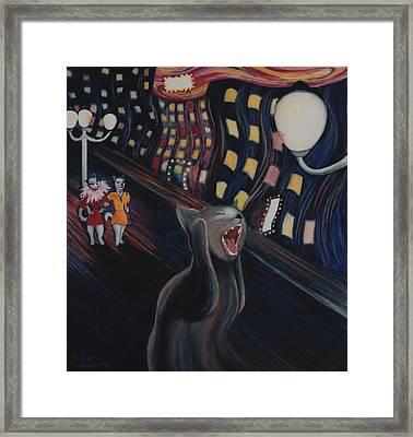 Munch's Cat--the Scream Framed Print by Eve Riser Roberts