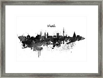 Munich Black And White Skyline Silhouette Framed Print by Marian Voicu