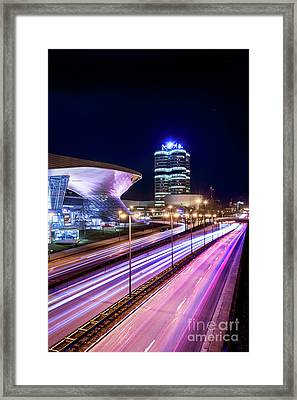 Framed Print featuring the pyrography Munich - Bmw City At Night by Hannes Cmarits