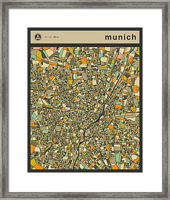 Munich City Map Framed Print by Jazzberry Blue