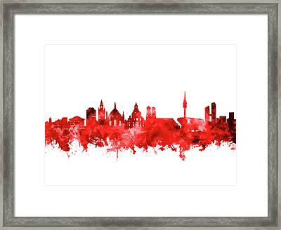 Munich City Skyline Red Framed Print