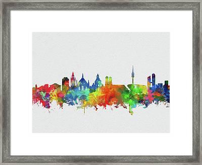 Munich City Skyline Watercolor Framed Print