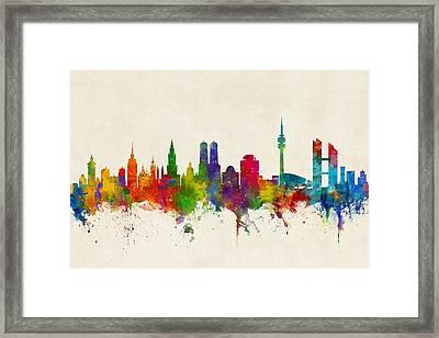 Munich Germany Skyline Framed Print