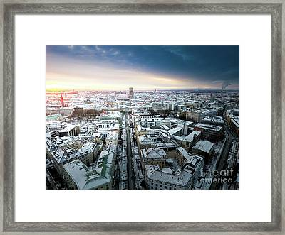 Framed Print featuring the photograph Munich - Sunrise At A Winter Day by Hannes Cmarits
