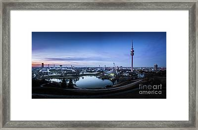 Framed Print featuring the photograph Munich - Watching The Sunset At The Olympiapark by Hannes Cmarits