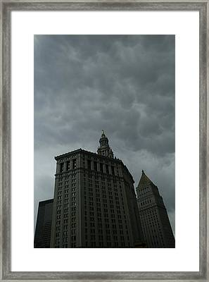 Municipal Building In Storm Framed Print by Christopher Kirby