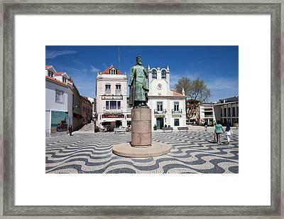 Municipal Square In Cascais Portugal Framed Print