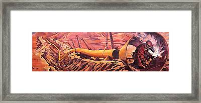 Framed Print featuring the painting Mural 12x90 Feet Detail Pipeline by Tim  Heimdal