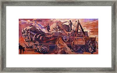 Framed Print featuring the painting Mural 12x90 Feet Detail Threshing Crew by Tim  Heimdal